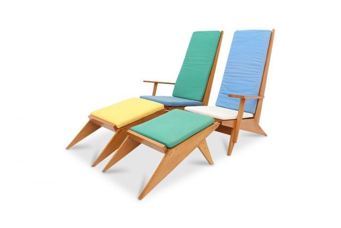 Beech Swimming Pool Lounge Chairs - 1970s