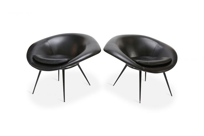 Black French Space Age Oyster Chairs - 1960s