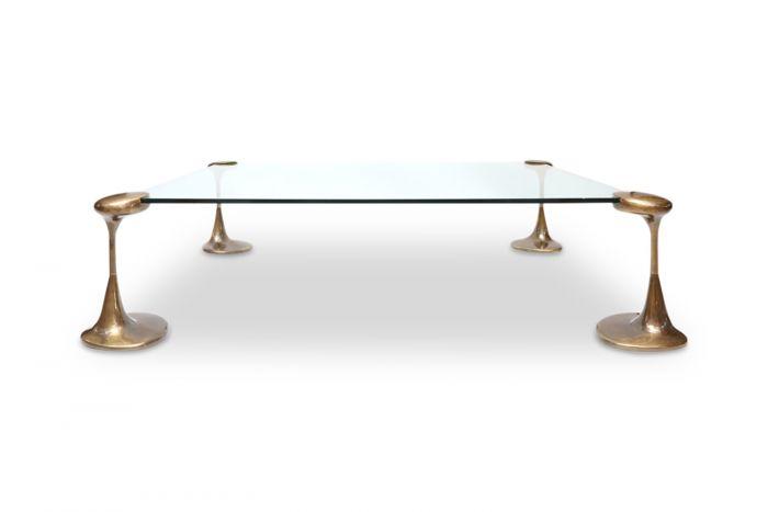 Bronze & Glass Coffee Table - 1970s