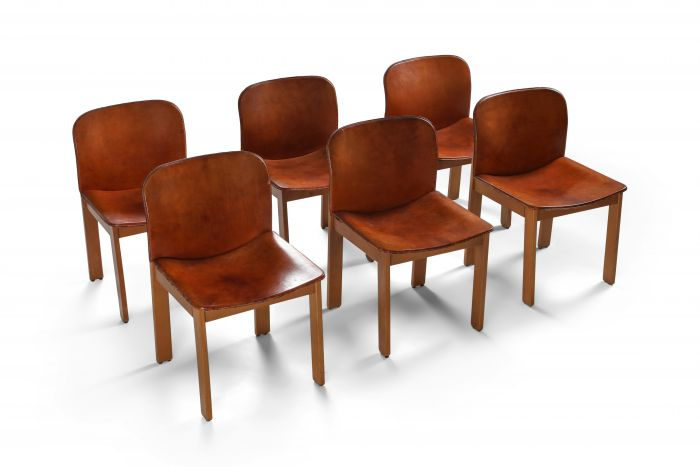 Scarpa Cognac Leather Dining Chairs - 1970's