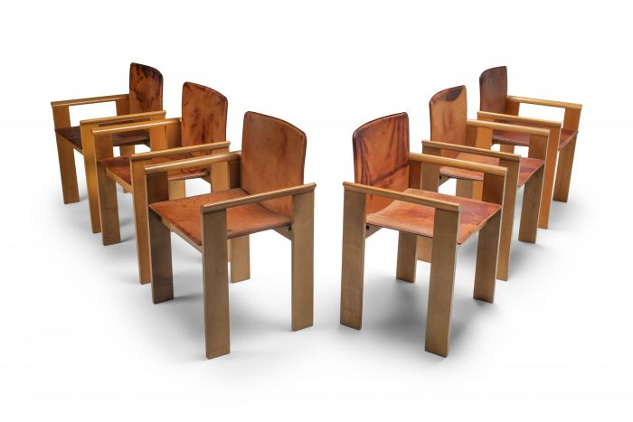 Italian Dining Chairs in Tan Leather in the Style of Scarpa - 1970's