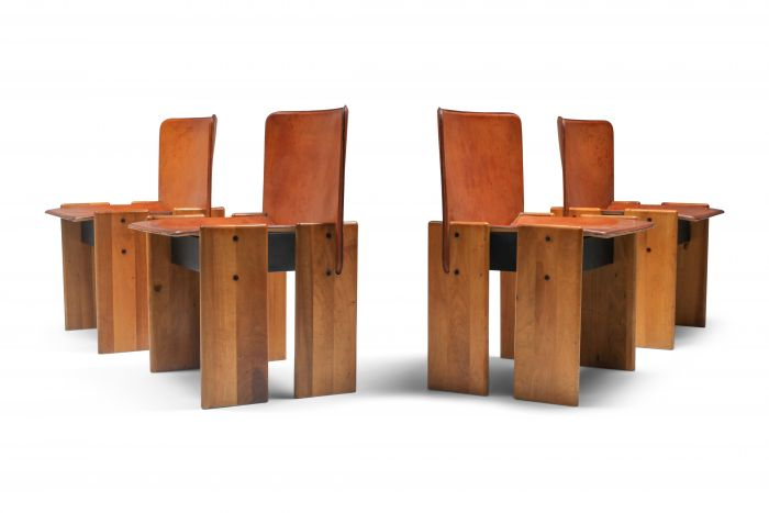 Afra & Tobia Scarpa Cognac Dining Chairs - 1970's