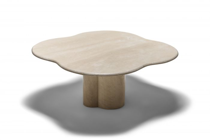 Jean Royère Style Travertine Coffee Table - 1960s