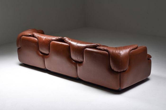 Saporiti 'Confidential' Cognac Leather Sofa by Alberto Rosselli - 1972