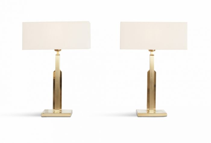 Brass Maison Jansen pair of table lamps with white linnen shades