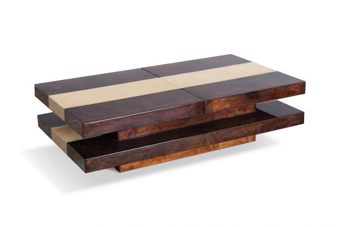 Two Tier Sliding Coffee Table With Hidden Bar, Aldo Tura - 1970s