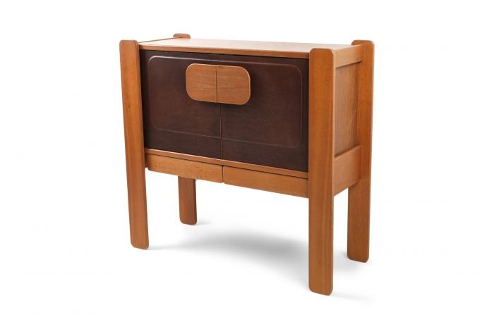 Walnut and Leather Postmodern Cabinet - 1970s