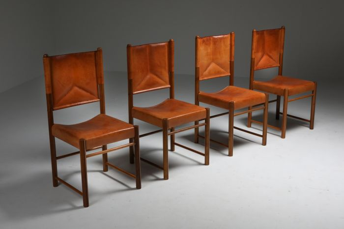 Cognac Leather Dining Chairs - Italy 1960's