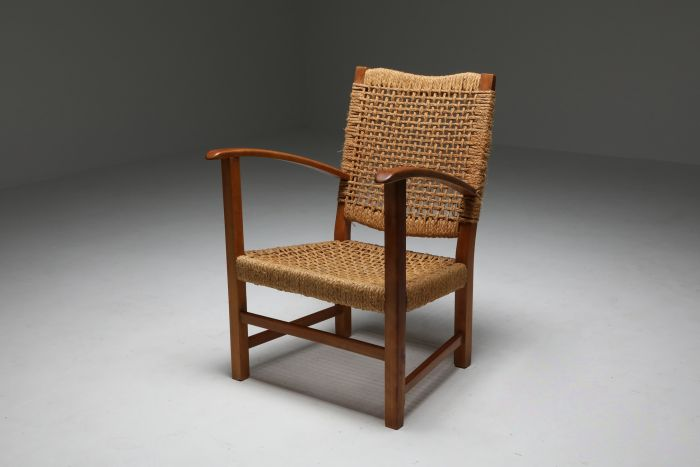 Audoux Minet Armchair in Beech and Cord - 1960's