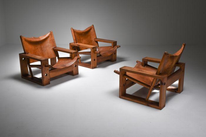 Cognac Leather and Pine Easy Chair by Ate Van Apeldoorn - 1970's