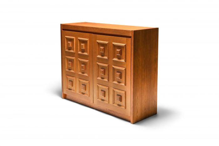 Brutalist oak bar cabinet by De Coene - 1970's