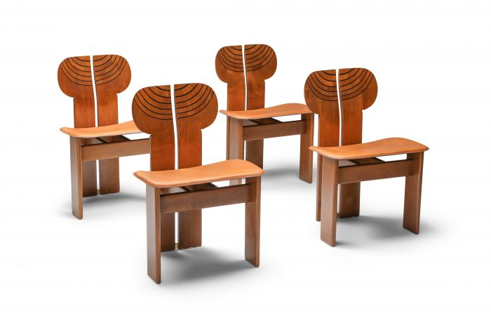 Afra and Tobia Scarpa Africa Chairs with Cognac Leather Seating - 1970's