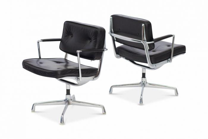 Eames Black Leather Intermediate Desk Chair - 1968