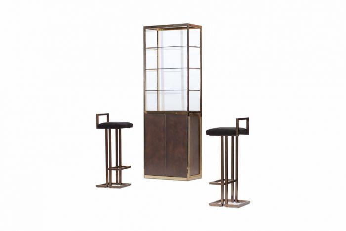 Copper And Brass Vitrine Display Cabinet, Maison Jansen - 1970s
