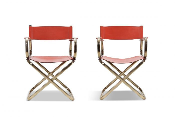 Mid-Century Modern Arrben Directors Chairs in Brass and Red Leather - 1970s