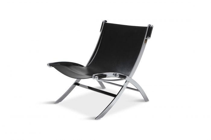Paul Tuttle for Flexform Lounge Chair In Chrome & Black Leather - 1980s