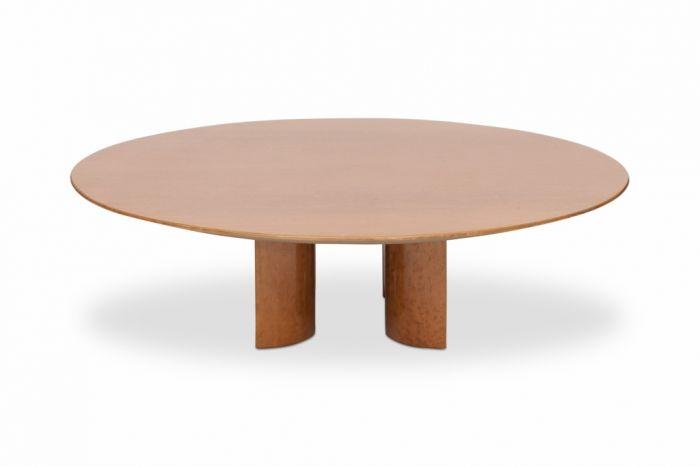 High Gloss Burl Round Coffee Table For Saporiti, Giovanni Offredi - 1980s