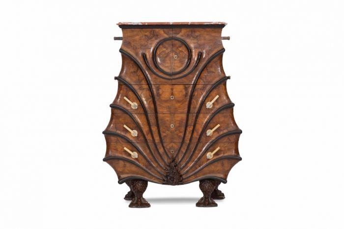 Rare Walnut Cabinet Chest In The Late Empire Taste - 1900s