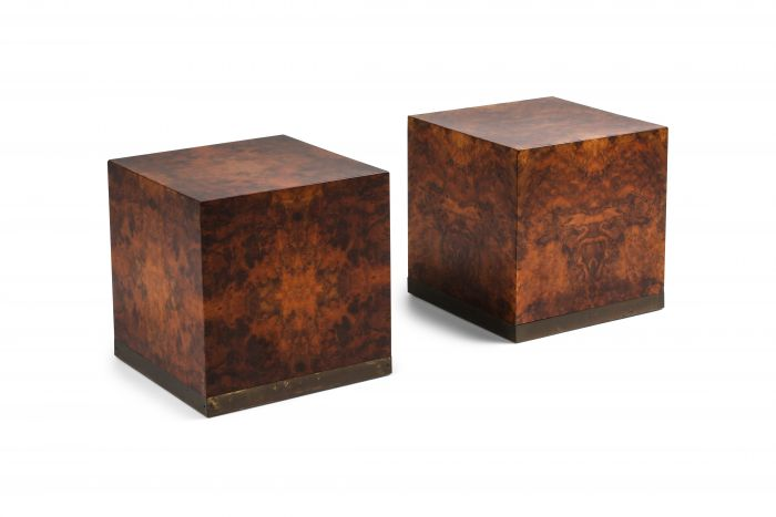 Burl Square Side tables by Jean Claude Mahey - 1970s