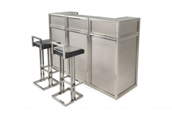 Maison Jansen Stainless Steel & Chrome Bar With Stools - 1970s