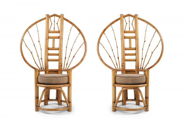 Bamboo Peacock Chairs In The Style of Albini - 1970s