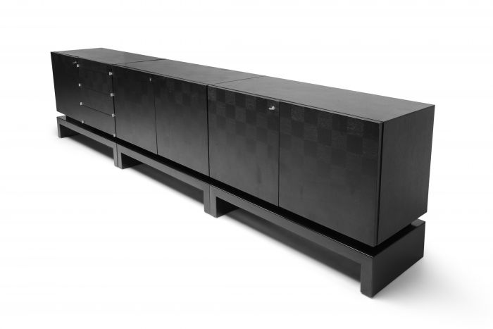 Black Sectional Credenza by De Coene - 1970s