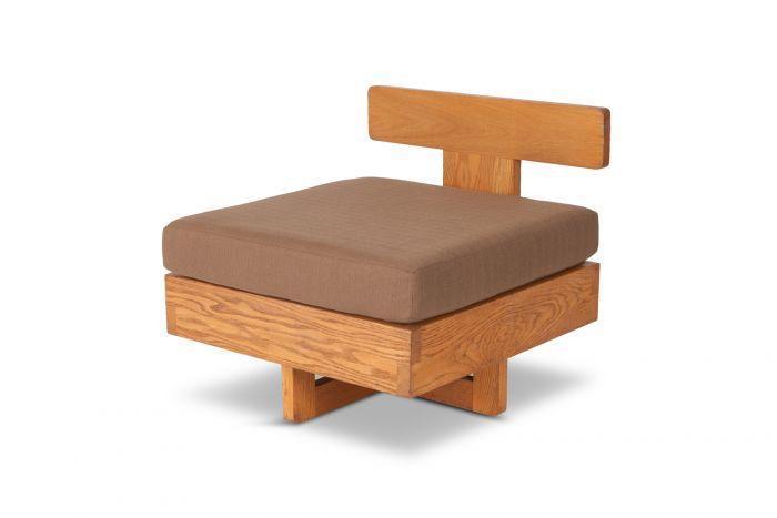 Modernist Easy Chair in Solid Oak - 1960s