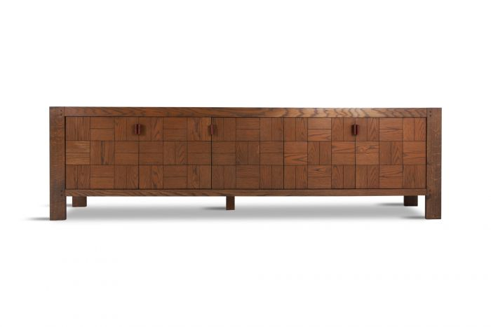 Large Brutalist Credenza in Stained Oak - 1970s
