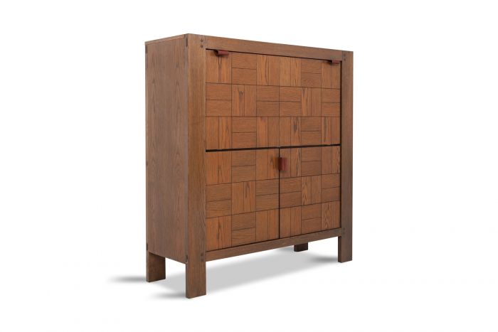 Brutalist Bar Cabinet In Stained Oak - 1970s