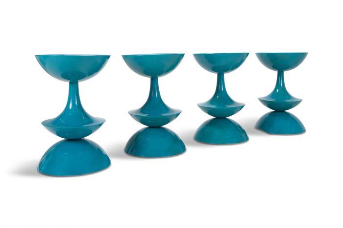 Nanna Ditzel stools in Rare Petrol Blue, Set Of Four - 1969