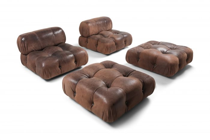 Camaleonda Lounge Chairs In Original Brown Leather by Mario Bellini - 1970s
