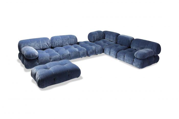 Mario Bellini Camaleonda Sectional Sofa in Blue Velvet - 1970s