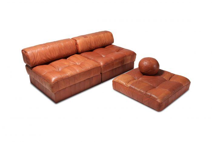 Cognac Leather Patchwork DS 88 De Sede Sectional Sofa - 1970s
