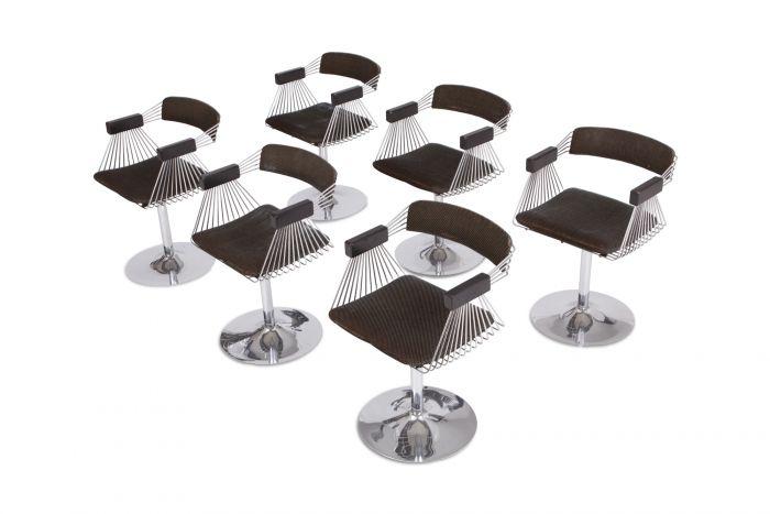 Rudi Verelst Space Age Swivel Armchairs In Chromed Steel - 1970s