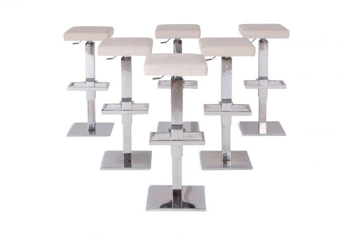 Maison Jansen Chromed Steel Adjustable Bar Stools With White Velvet Seating - 1970s