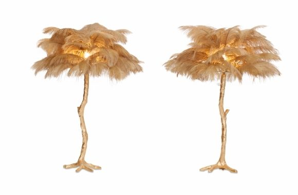 Golden Tree Lamp With Gold Feathers - 2000s