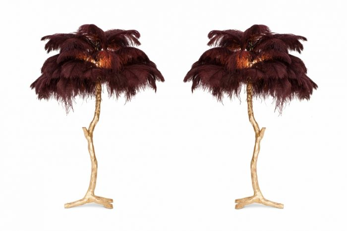 Golden Feathered Tree Lamp in Aubergine