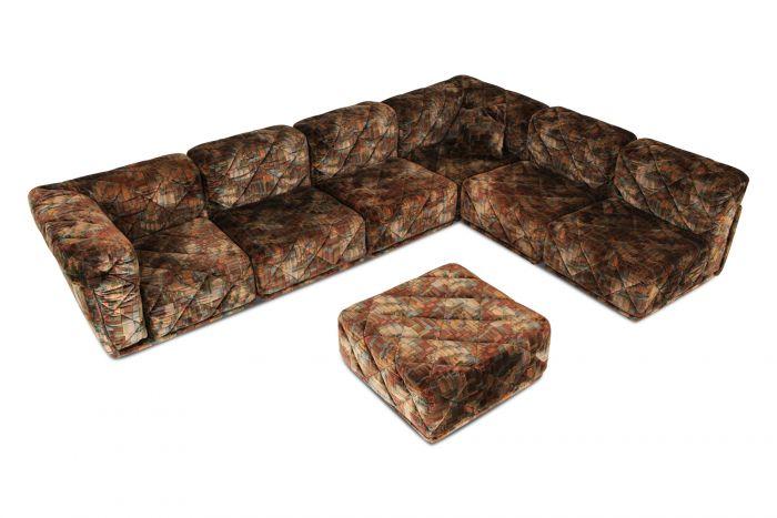Post-Modern Sectional Sofa in Various Colored Velvet Upholstery - 1980s