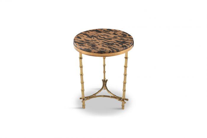 Maison Baguès Hollywood Regency Brass & Marble Side Table - 1970s