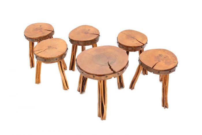 French Wooden Wabi Sabi Stools - 1960s
