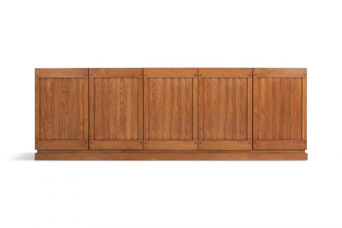 Brutalist Natural Oak Credenza With Geometric Door Panels - 1970s