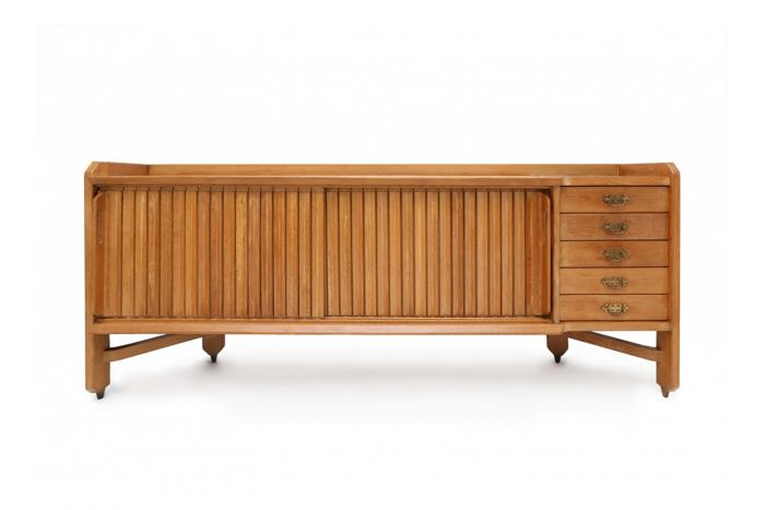 Oak Credenza With Ceramic Inlay, Guillaume Et Chambron - 1960s