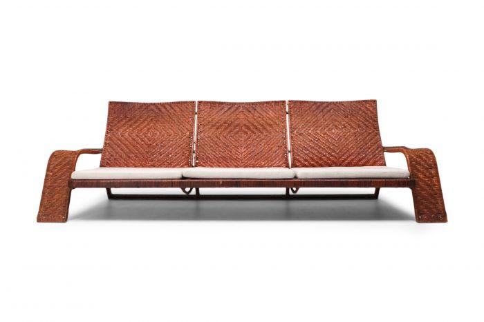 Marzio Cecchi Woven Leather Postmodern Sofa - 1990s