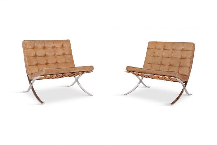 Barcelona Lounge Chairs by Ludwig Mies van der Rohe in Original Cognac Leather - 1960s