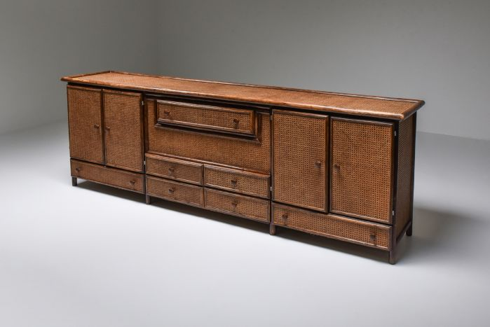 Bamboo & Cane Credenza with Multiple Drawers, Italy - 1970's