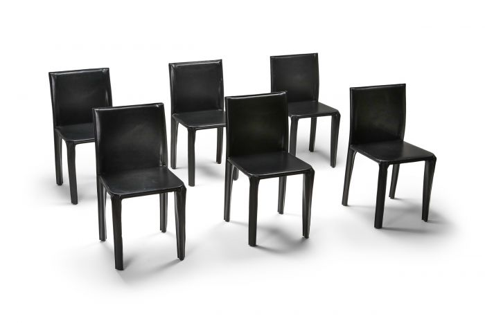 Black Leather 'Pasqualina' CAB Dining Chairs - 1970s