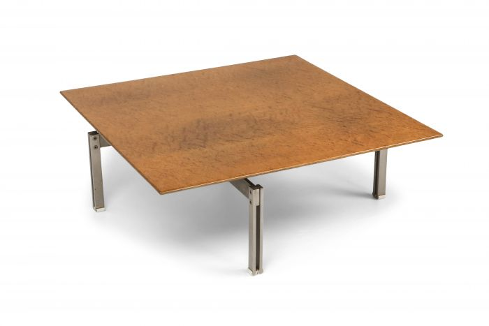 Square Burl Wood Coffee Table With Steel Base - 1970s