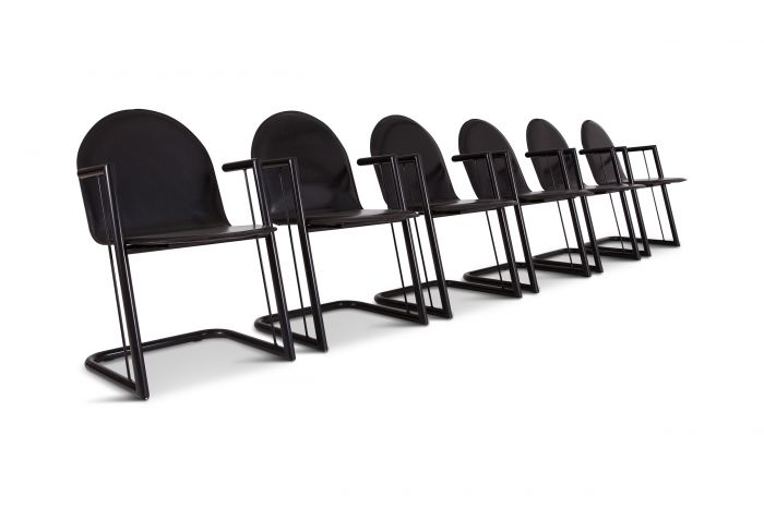 Post Modernist Leather Dining Chairs, Set Of Six - 1970s