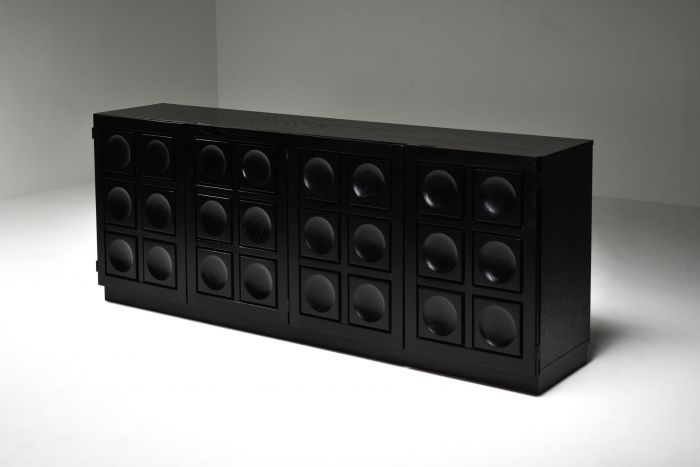 Brutalist Credenza in Black Stained Oak - 1970's