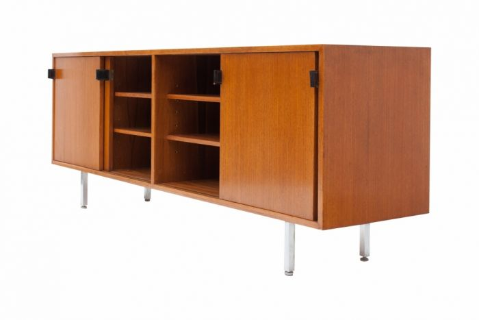 Knoll Brown Teak Credenza With Chrome Legs, Florence Knoll - 1960s